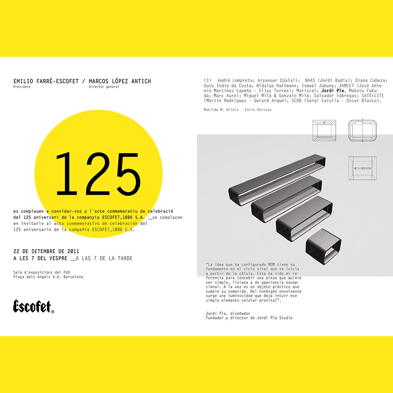 "125 aniversari of ESCOFET Barcelona 1886. Jordi Pla Studio presents MoM collection in to the group ""Generación Liviana"". Barcelona 2011"