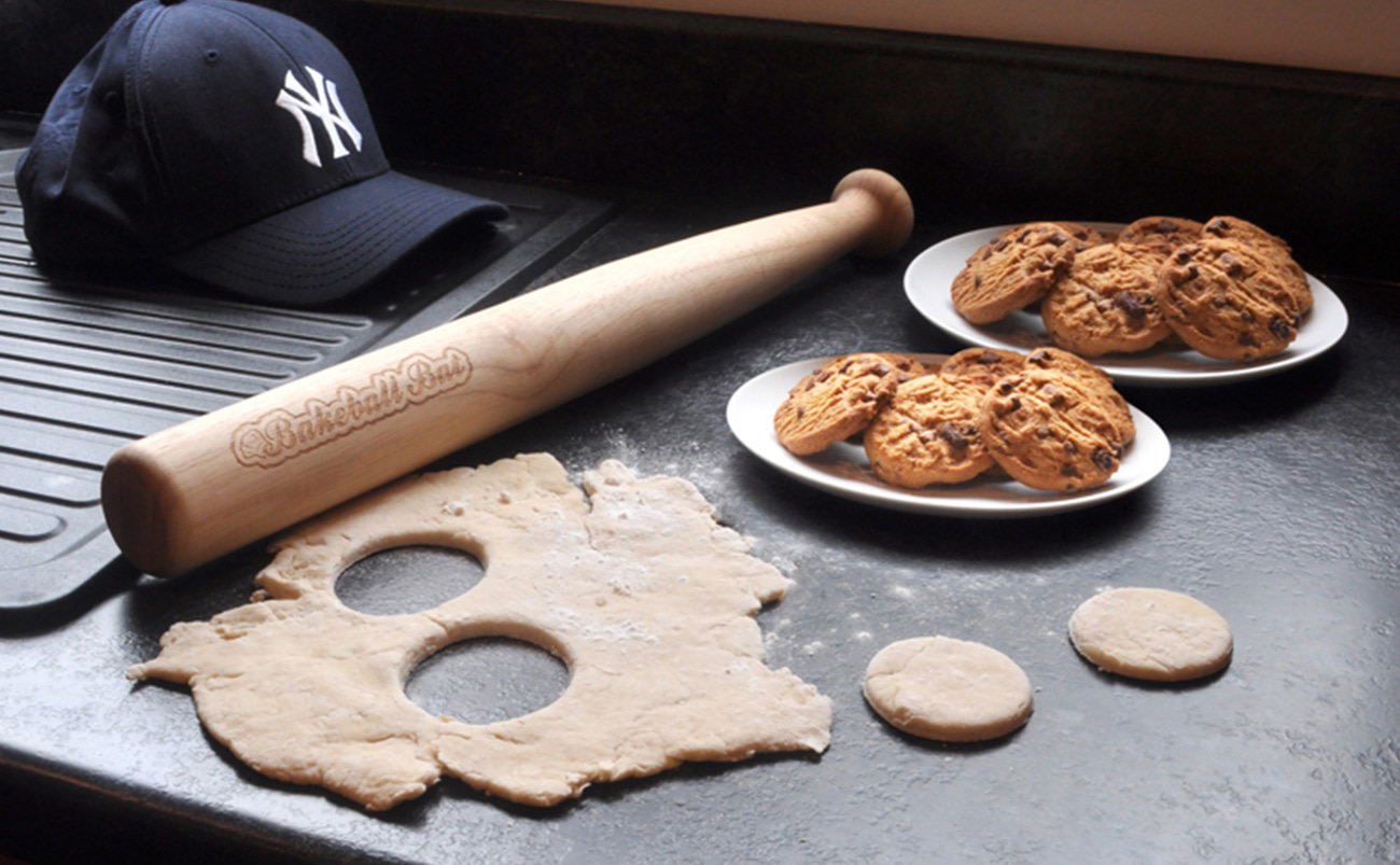 wood rolling pin bakery sports bat baseball